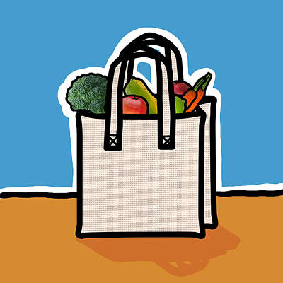 Digitalized Photograph - Cloth Shopping Bag With Vegetables by Yuriko Zakimi