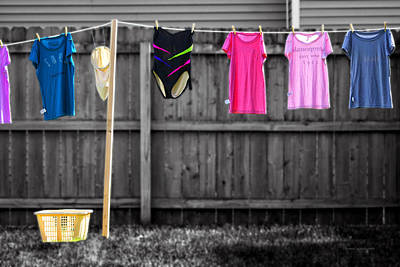 By Thomas Woolworth Photograph - Clothes Line Selective Coloring Digital Art by Thomas Woolworth