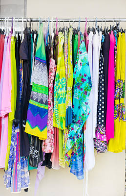 Rack Photograph - Clothes Rack by Tom Gowanlock