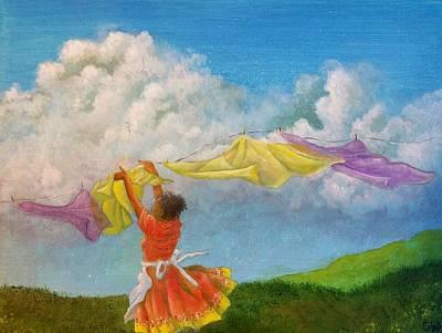 Laundry Painting - Clothesline  by Gloria Jones