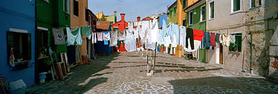 Clothesline In A Street, Burano Art Print by Panoramic Images