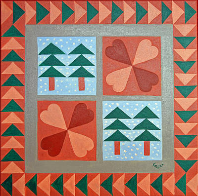 Block Quilts Painting - Clothesline Of Quilts by Karen  Syler