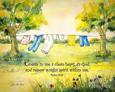 Clothesline Psalm 51 Art Print