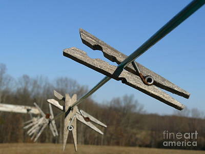 Art Print featuring the photograph Clothespin In Winter by Jane Ford