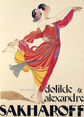 Dancing Drawing - Clotilde And Alexandre Sakharoff by George Barbier