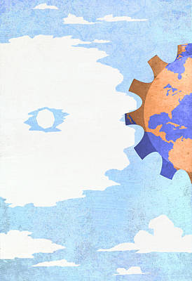 Differences Digital Art - Cloud And Earth by Steve Dininno