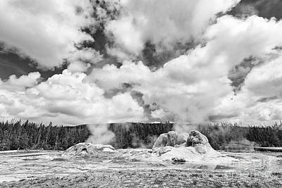 Cloud Creators - Twin Geysers Steaming Under A Dramatic Sky In Yellowstone National Park. Art Print by Jamie Pham