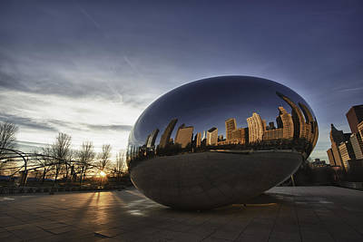 Chicago Skyline Photograph - Cloud Gate At Sunrise by Sebastian Musial