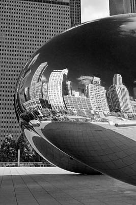 Photograph - Cloud Gate Bean Black And White by Christopher Arndt