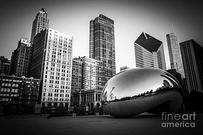 Chicago Wall Art - Photograph - Cloud Gate Bean Chicago Skyline In Black And White by Paul Velgos