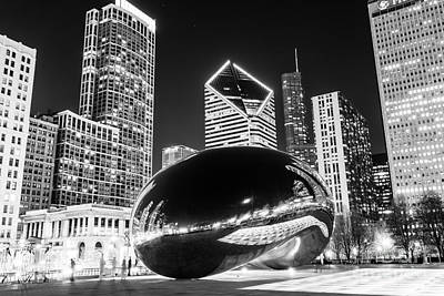 Landmarks Royalty-Free and Rights-Managed Images - Cloud Gate Chicago Bean Black and White Picture by Paul Velgos