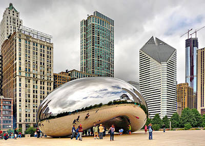 Print featuring the photograph Cloud Gate In Chicago by Mitchell R Grosky