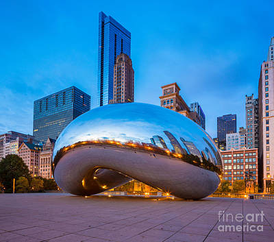 Reflective Morning Photograph - Cloud Gate Number 3 by Inge Johnsson