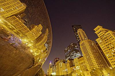Photograph - Cloud Gate Reflection by Daniel Sheldon