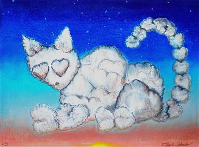 Fluffy Clouds Mixed Media - Cloud Kitty by R Neville Johnston