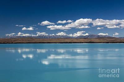Turquoise Lake Photograph - Cloud Reflection In Lake Pukaki by Avalon Fine Art Photography