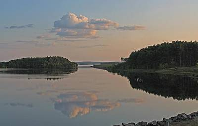 Photograph - Cloud Reflection On Wachusett Reservoir by Michael Saunders