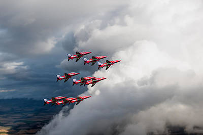 Digital Art - Cloud Riders - The Red Arrows by Gary Eason
