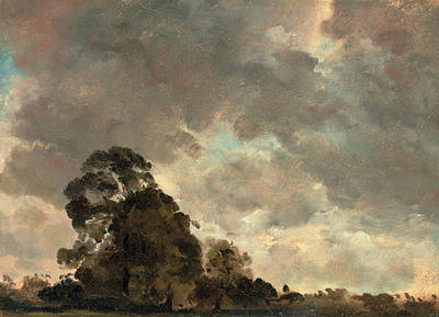 Cloud Study Landscape At Hampstead, Trees And Storm Clouds Art Print by Litz Collection