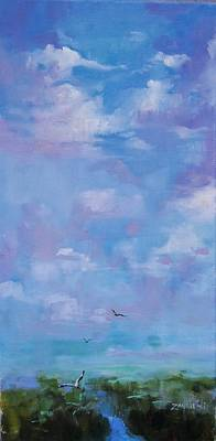 Big Skies Painting - Cloud Study by Laura Lee Zanghetti