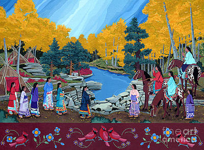 Wall Art - Painting - Cloud Women At Thunderbird Mountain by Chholing Taha