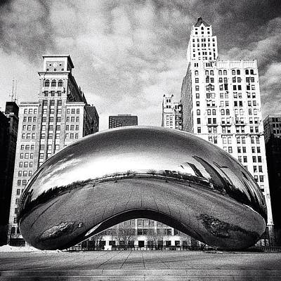 White Photograph - Chicago Bean Cloud Gate Photo by Paul Velgos
