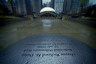 Rainy Day Photograph - Cloudgate With Dedication In Foreground by Sven Brogren