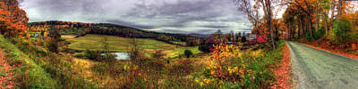 Autumn Scene Photograph - Cloudland Rd Panoramic - Vermont by Joann Vitali