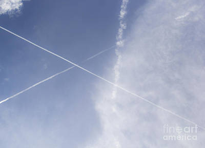 Cross Photograph - Clouds And Contrails by Teresa Mucha