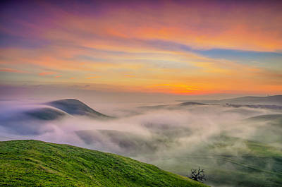 Clouds And Fog At Sunrise Art Print