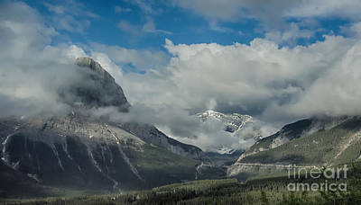 Clouds And Mist Over Canadian Rocky Mountain Peaks Art Print