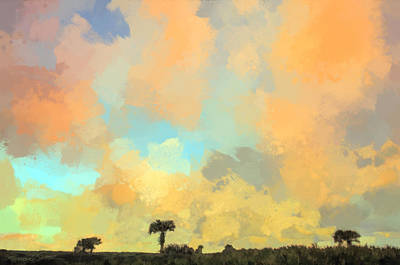 Clouds And Sunset Over Beach Dunes Art Print