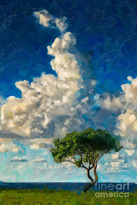 Colorful People Abstract Royalty Free Images - Clouds and Tree Royalty-Free Image by Bill Piacesi