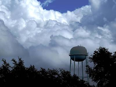 Clouds Photograph - Clouds Around The Water Tower by Zina Stromberg