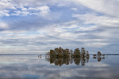 State Word Art - Clouds Reflected on Lake Mattamuskeet in Eastern North Carolina by Bob Decker