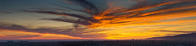 Clouds In The Sky At Dusk, Marina Del Art Print by Panoramic Images