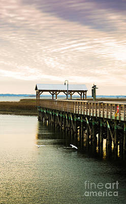Photograph - Clouds Roll In Over Shem Creek Pier Mt. Pleasant Sc by Donnie Whitaker