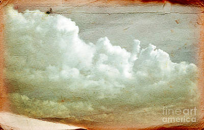 Parchment Photograph - Clouds On Old Grunge Paper by Michal Bednarek