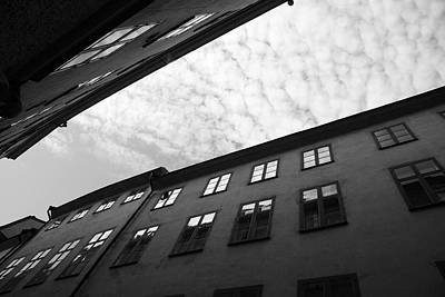 Clouds Over A Narrow Alley - Monochrome Art Print by Ulrich Kunst And Bettina Scheidulin