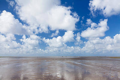 Clouds Over Beach, Wadden Sea National Art Print by Panoramic Images