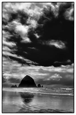Clouds Over Haystack Rock On Cannon Beach Art Print