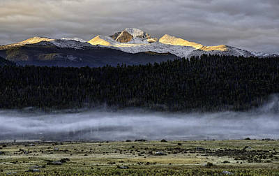 Clouds Over Longs Peak Art Print by Tom Wilbert