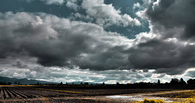 Plowed Fields Photograph - Clouds Over Mount Vernon Washington by David Patterson