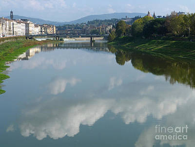 Photograph - Reflected Clouds - River Arno - Florence by Phil Banks