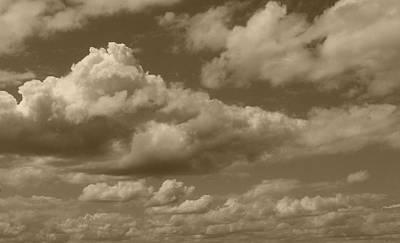 Cloudscape Digital Art - Cloudscape In Sepia by Suzanne Gaff