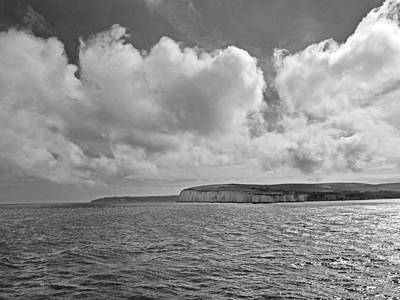 Photograph - Cloudscape Over The White Cliffs Of Dover Bw by Gill Billington