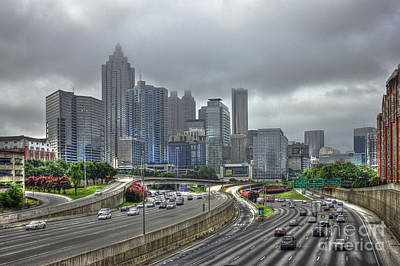 Black And White Horse Photography - Cloudy Atlanta Capital of the South by Reid Callaway
