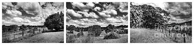 Cloudy Countryside Collage - Black And White Art Print