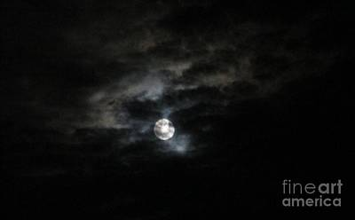 Art Print featuring the photograph Night Time Cloudy Dark Moon by Barbara Yearty