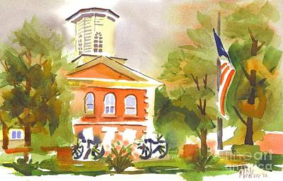 Cheerful Day At The Courthouse Painting - Cloudy Day At The Courthouse by Kip DeVore